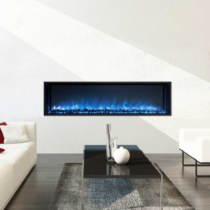 Modern Flames Landscape Fullview 2 Series Electric Fireplace Flush Mounted In Living Room