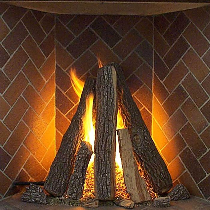 Rasmussen RF-T-Kit Tipi Series Complete Fireplace Log Set for Rumford Fireplaces