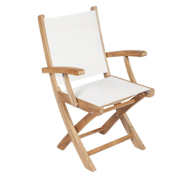 Royal Teak Collection SM Sailmate Teak Sling Folding Arm Chair