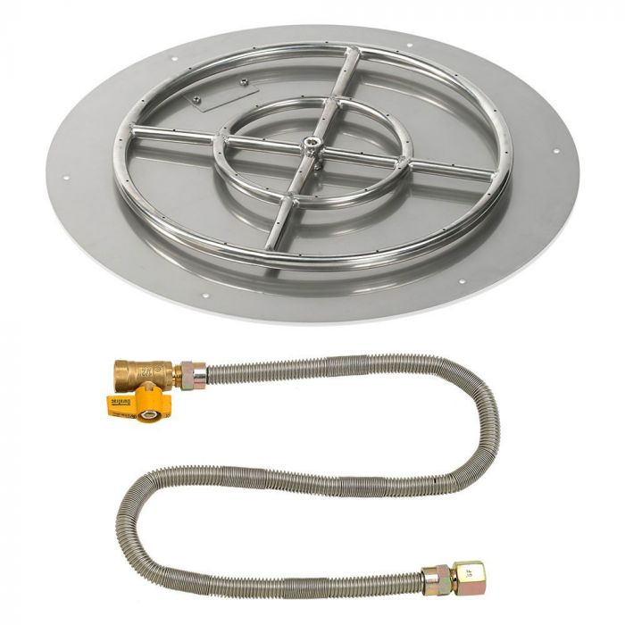 American Fireglass Match Light Fire Pit Kit, Round Flat Pan, 24 Inch Pan/18 Inch Burner, Natural Gas (NG)