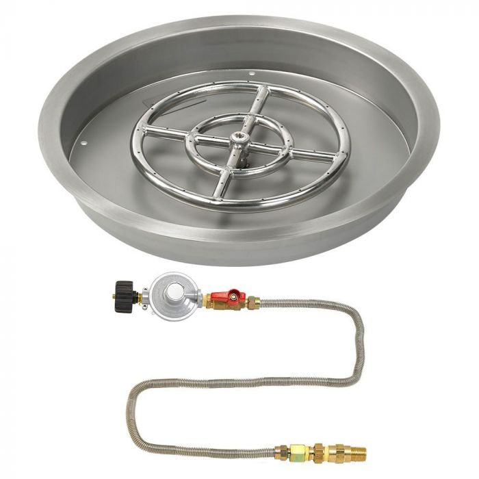 American Fireglass Match Light Fire Pit Kit, Round Bowl Pan, 19 Inch, Propane Gas (LP)