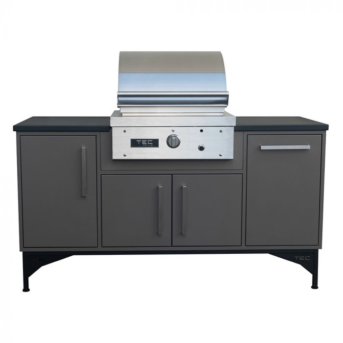 TEC STPFR1L Sterling Patio Gas Grill on Midcentury Modern Island, 66-Inches
