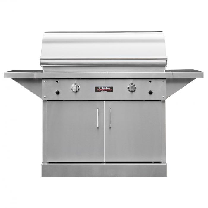 TEC Sterling Patio 2 FR Infrared Gas Grill On Stainless Steel Pedestal with Two Side Shelves