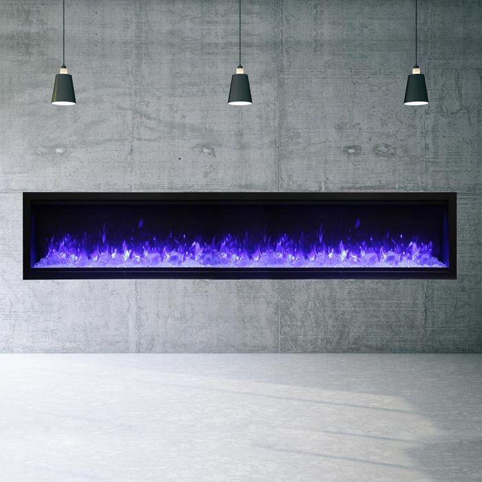 Amantii SYM-XT Symmetry Series Extra Tall Built-In Electric Fireplace with Black Steel Surround and Decorative Media