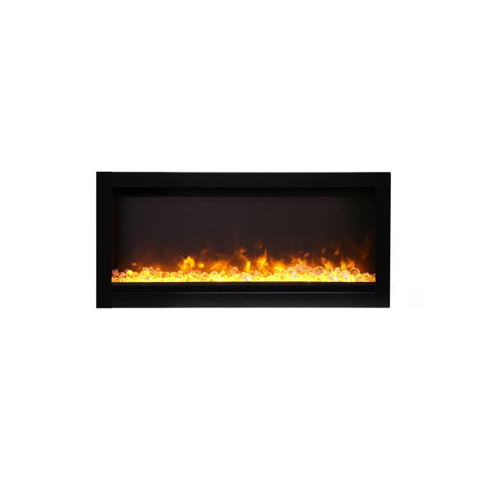 Amantii SYM-34-B Basic Clean Face Built-In Electric Fireplace with Glass and Black Steel Surround, 34-Inch