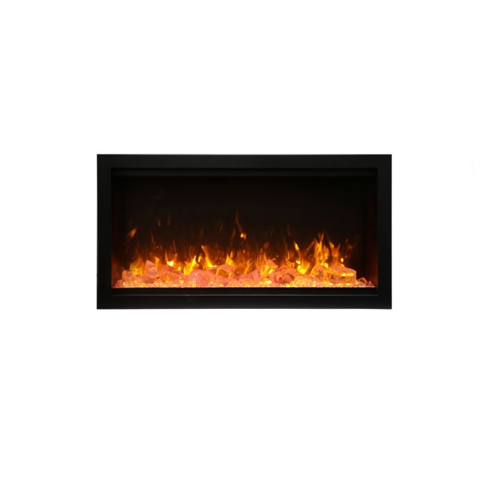 Amantii SYM-34-XT-Fi-109-Diamond Basic Clean Face Built-In Electric Fireplace with Glass and Black Steel Surround, 34-Inch