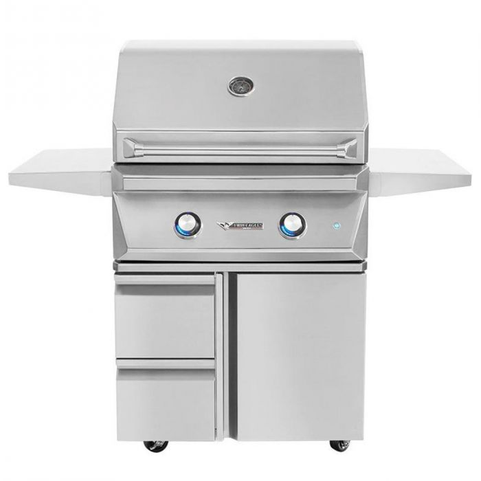 Twin Eagles 30 Inch Gas Grill On Cart with Drawers and Door