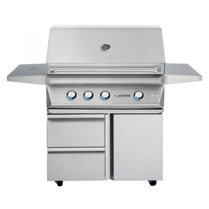 Twin Eagles 36 Inch Gas Grill On Cart with Drawers and Door