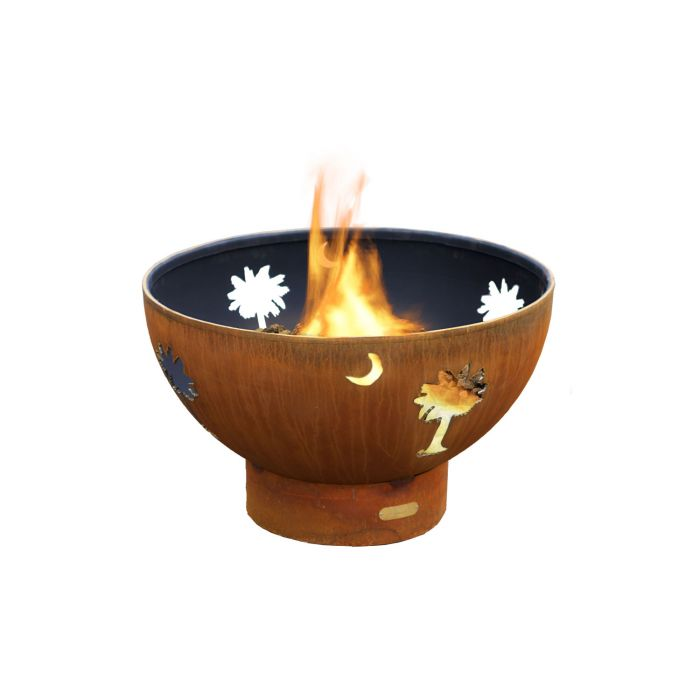 Fire Pit Art Tropical Moon Gas Fire Pit