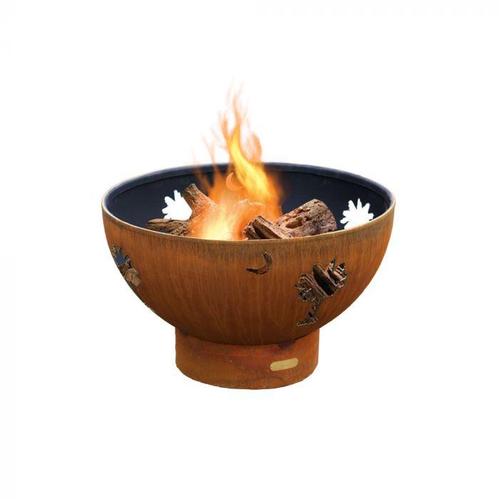 Fire Pit Art Tropical Moon Wood Fire Pit