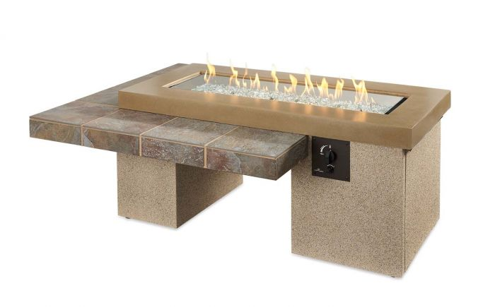 The Outdoor GreatRoom Company KL-1242-BRN Key Largo Fire Pit with Electronic Ignition, Natural Gas, Supercast, Brown, 19.625x48-Inches