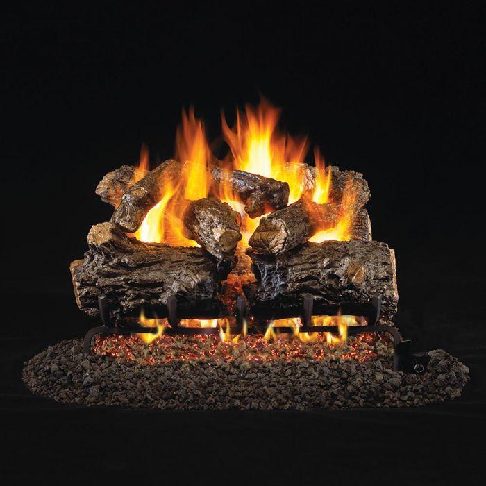 Real Fyre Burnt Rustic Oak Vented Gas Log Set, ANSI Certified