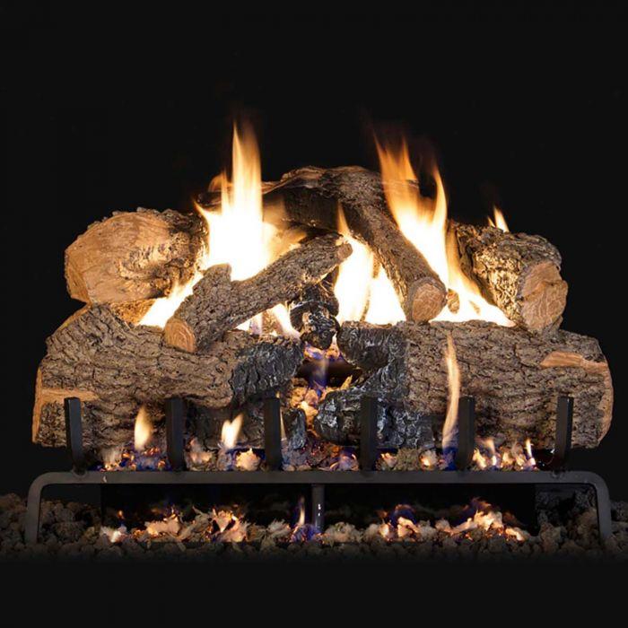 Real Fyre Charred American Oak Vented Gas Log Set, ANSI Certified