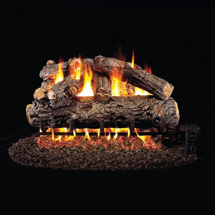Real Fyre Rustic Oak Designer Vented Gas Log Set, ANSI Certified
