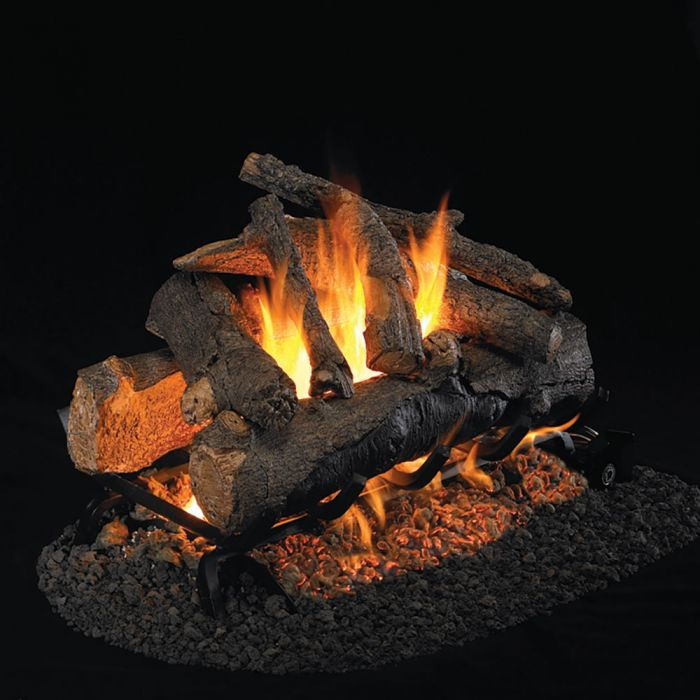 Real Fyre CHAO Charred American Oak Stainless Steel Vented Gas Log Set, See-Thru