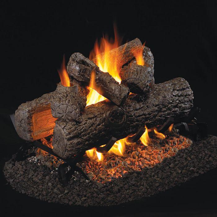 Real Fyre R Golden Oak Stainless Steel Vented Gas Log Set, See-Thru
