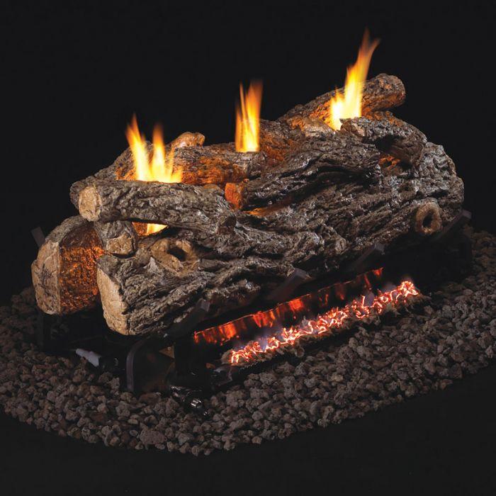 Real Fyre RD9-2 Golden OakVent Free Gas Log Set, ANSI Certified, See-Thru