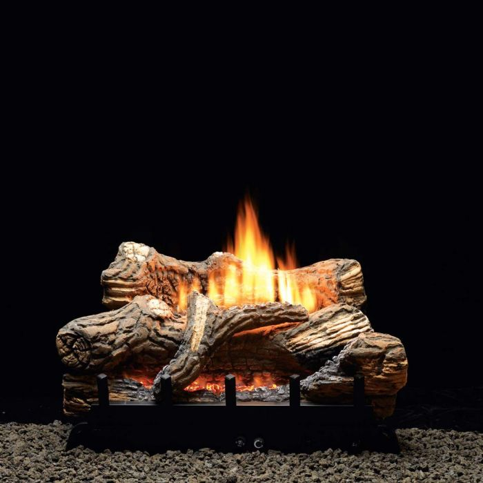 White Mountain Hearth VFDTxx Flint Hill Ceramic Fiber Gas Log Set with Ventless Burner and Thermostat Valve