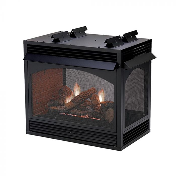 White Mountain Hearth VFP36xx32 Vail Ventless Premium Multi-Sided Firebox with Millivolt Valve and Banded Brick Liner, 36-Inches