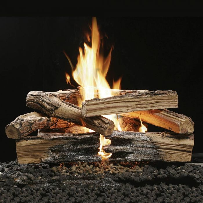 Kingsman VxB24-LOG30 30-Inch Vented Millivolt Ignition Reversible Charred Split Oak/Barked Oak Gas Log Set