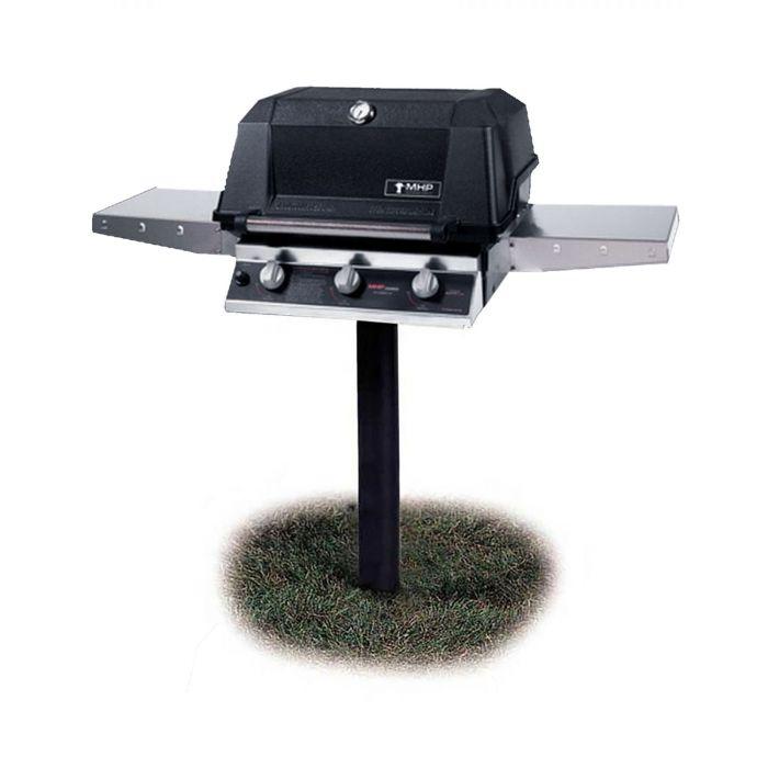 Modern Home Products W3G4DD Tri-Burn Gas Grill with SearMagic Grids On Patio Base, 27-Inch