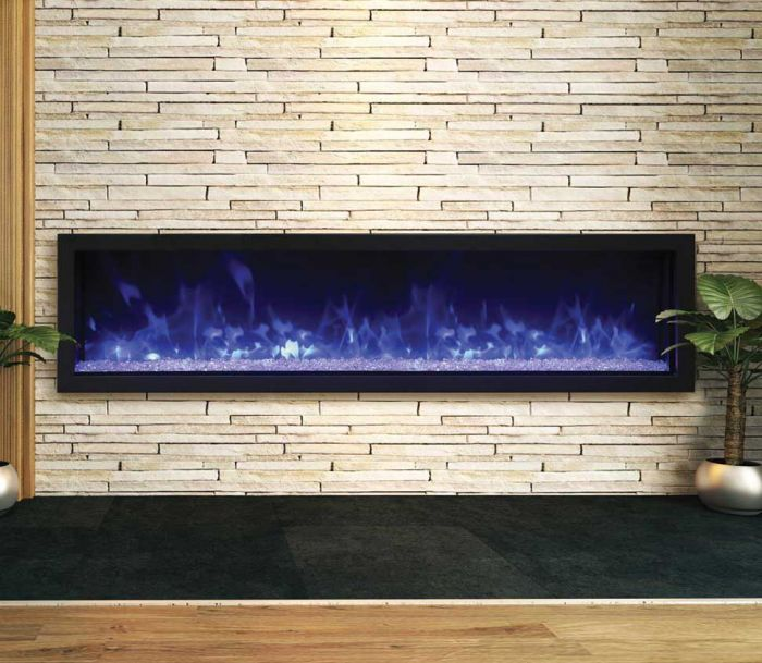Remii 102765-XS Extra Slim Indoor Built-In Electric Fireplace with Black Steel Surround, 65-Inch