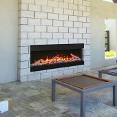 Remii BAY-SLIM Indoor/Outdoor Built-In 3-Sided Electric Fireplace with Decorative Media