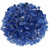 American Fireglass 10-Pound Premium Fire Glass, 1/2 Inch, Cobalt Blue Reflective