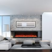Amantii BI-DEEP-XT Panorama Series Extra Tall Built-in Electric Fireplace with Black Steel Surround and Decorative Media