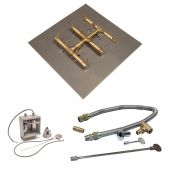 Crossfire by Warming Trends CFBST-24VIK 24 Volt Electronic Spark Ignition Square Tree-Style Brass Gas Fire Pit Burner Kit