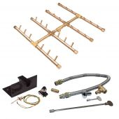 Crossfire by Warming Trends CFBST-PBIK Push Button Spark Ignition Square Tree-Style Brass Gas Fire Pit Burner Kit