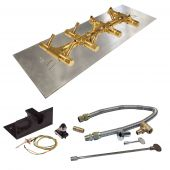 Crossfire by Warming Trends CFBT-PBIK Push Button Spark Ignition Linear Tree-Style Brass Gas Fire Pit Burner Kit