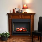 GreatCo Columbia Series Mantel with Electric Fireplace, Louvered Front