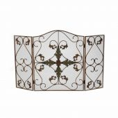 Dagan DG-S902 Arched Antique Copper and Patina Fireplace Screen, 35x33.5-Inches