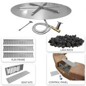 Firegear FPB-34PAVER Round Gas Fire Pit Burner Kit with Flame Sensing for Paver Blocks