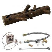 Firestorm by FSLS32-P24VIKSCCG-FLKV34FIT180 Hot Surface Ignition Steel Gas Log and Burner Kit