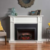 GreatCo Gallery Zero-Clearance Series Insert Electric Fireplace with White Heritage Cabinet in Living Room