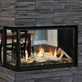 Kingsman MCVP42H 43-Inch High Capacity Clean View Direct Vent Peninsula Gas Fireplace with Media