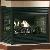 Kingsman MDV31-COR 36-Inch Direct Vent Double Sided Corner Gas Fireplace with Log Set