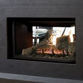 Kingsman MDV31-ST 36-Inch Direct Vent See-Through Gas Fireplace with Log Set