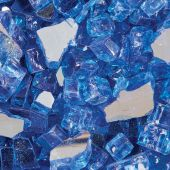 "Grand Effects FGSRRB Reflective 1/2""-3/4"" Royal Blue Fire Glass, 25 lbs"