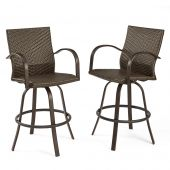 The Outdoor GreatRoom Company NAPLES-4030-L Naples Swivel Bar Stools, Set of 2