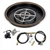 American Fireglass Spark Ignition Fire Pit Kit, Round Bowl Pan, 19 Inch, Propane Gas (LP)