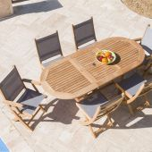 Royal Teak Collection P10 7-Piece Teak Patio Dining Set with 60/78-Inch Oval Expansion Table & Sailmate Sling Folding Chairs