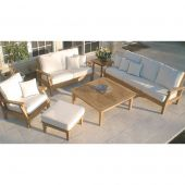 Royal Teak Collection P103 Miami Deep Seating 6-Piece Teak Patio Conversation Set with Seating, Square Coffee Table, Square Side Table & Sunbrella Cushions