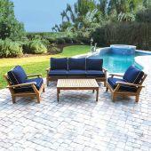 Royal Teak Collection P108 Miami Deep Seating 4-Piece Teak Patio Conversation Set with Seating, Rectangular Coffee Table & Sunbrella Cushions