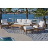 Royal Teak Collection P112 Miami Deep Seating 6-Piece Teak Patio Conversation Set with Seating, Rectangular Coffee Table, Square Side Table & Sunbrella Cushions