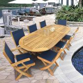 Royal Teak Collection P15 9-Piece Teak Patio Dining Set with 72/96-Inch Oval Expansion Table & Sailmate Sling Folding Chairs