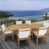 Royal Teak Collection P16 7-Piece Teak Patio Dining Set with 72/96-Inch Oval Expansion Table & Captiva Sling Stacking Chairs