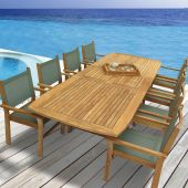 Royal Teak Collection P22 9-Piece Teak Patio Dining Set with 96/120x44-Inch Rectangular Expansion Table & Captiva Sling Stacking Chairs